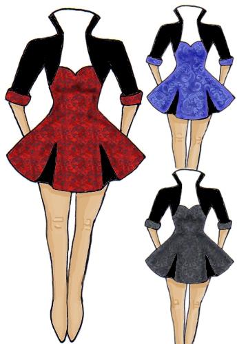 Jacquard Red Black Blue Rockabilly 50s Dress