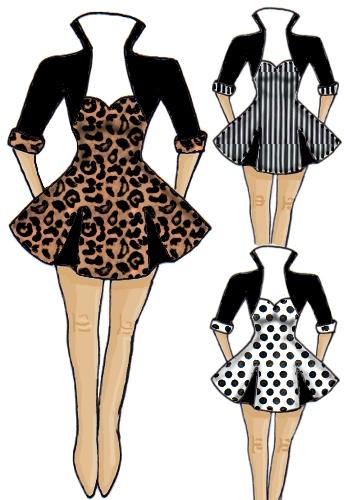 Rockabilly 50's Leopard Pinstripe Polka Dot Spot Vintage Retro Dress