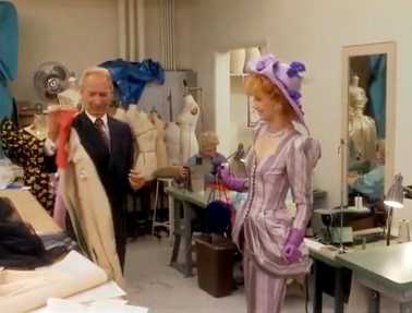 Troop Beverly Hills Purple Pink Stripe Vintage Inspired Skirt Dress Suit Wide Brimmed Hat Satin Gloves