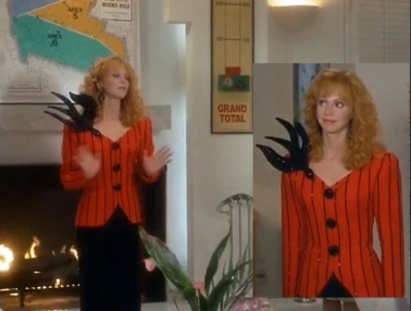 Troop Beverly Hills Red Black Sparkly Dress Skirt Suit Blazer Swallow Shoulder Embellishment