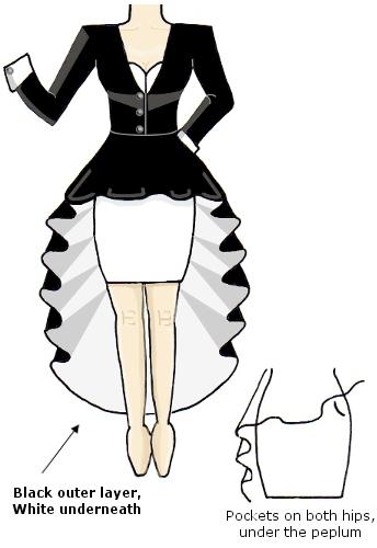 Black White Contrast Coat Dress