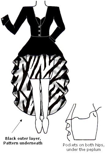 Black White Contrast Zebra Animal Print Coat Peplum Dress