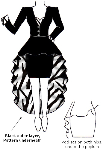 Black White Contrast Zebra Animal Print Coat Peplum Dress