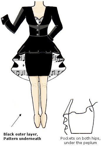 Black White Music Musical Notes Score Melody Coat Dress