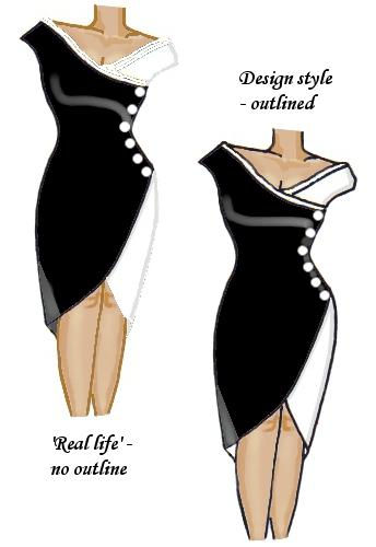 Wrap Lace Trim Dress Black and White
