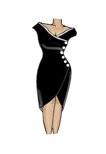 Wrap Lace Trim Dress Black White Buttons