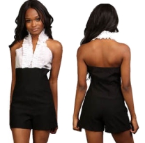www.dangerousfx.co.uk White Black Ruffle dress romper