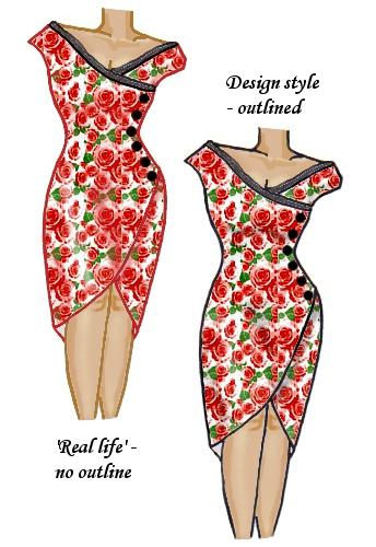 Floral Wrap Lace Trim Dress Red & Black