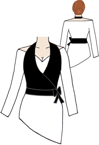Halter & Shoudler Wrap Top White & Black Waistcoat Vest