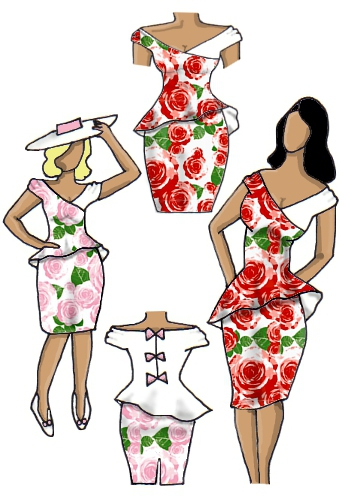 Floral Peplum Dress Rose and White Red Pink