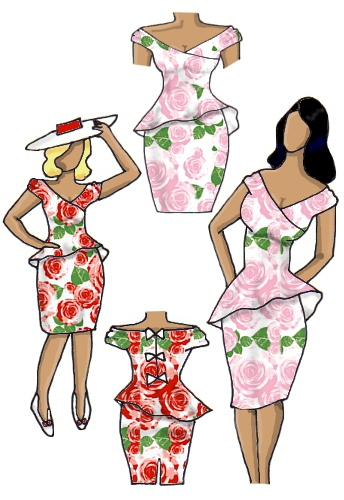 Floral Peplum Dress Full Roses Pink Red White Design