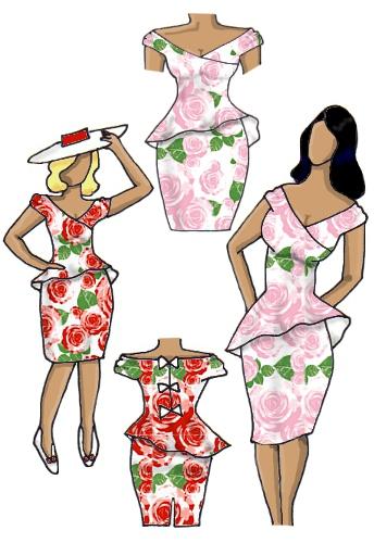 Floral Peplum Dress Full Roses Pink Red White Design