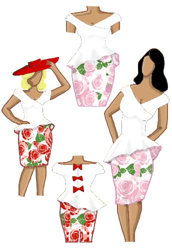 Peplum Dress White and Floral Roses Red White Bodice Pink