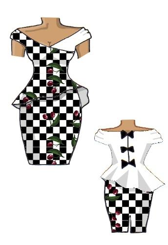 Peplum Dress Checkerboard Check Cherry Black & White