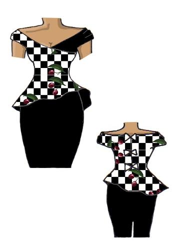 Peplum Dress Check Cherry & Black White