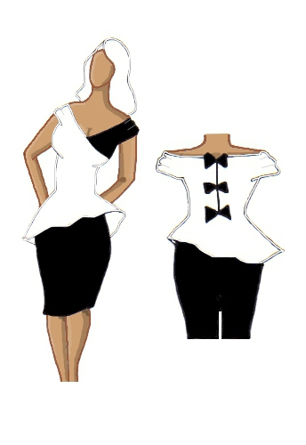 Peplum Dress White and Black