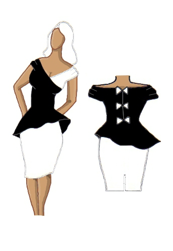 Peplum Dress Black on White Contrast Design