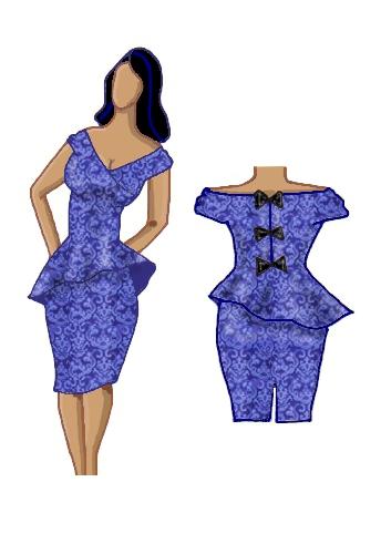 Peplum Dress Blue Jacquard Brocade