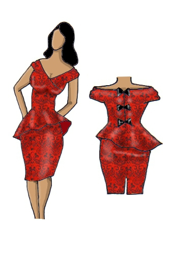 Peplum Dress Red Jacquard Brocade Design