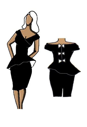 Peplum Dress Black with Contrast Design
