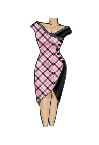 Plaid Check Wrap Lace Trim Dress Pink & Black