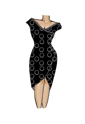 Wrap Lace Trim Dress Design Black Spiral White Circles