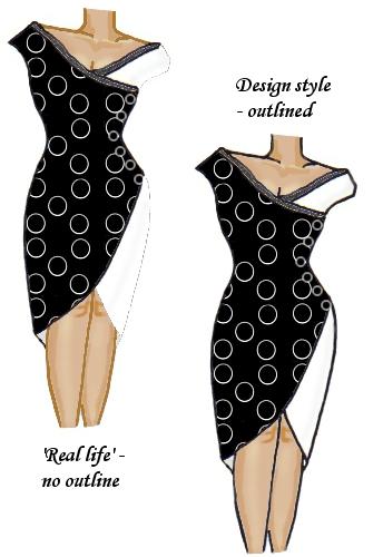 Wrap Lace Trim Dress Black Spiral and White Circles