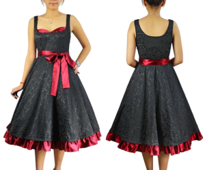 Chicstar-Black-Jacquard-Red-Satin-50s-Dress