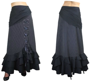 Stripe Pinstripe Gypsy Swag Lace Skirt