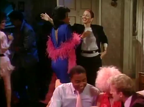 2_227_Fran_Dresher_Fine_Sandra_Power_80s_Retro_Business_Suit_Blue_Dress_Pink_Feather_Boa