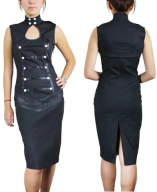 Black Military Style Knee Length Dress 3