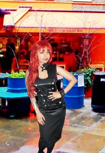 Black Military Style Knee Length Dress