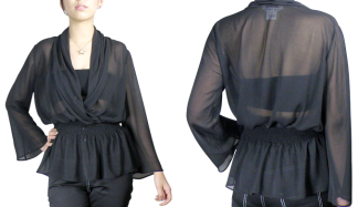 Sheer Black Chiffon Blouse Top Chicstar