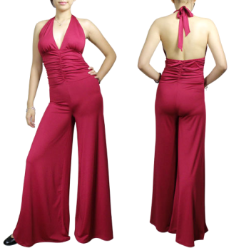 Red Jumpsuit All In One Stretchy Ruched Chicstar