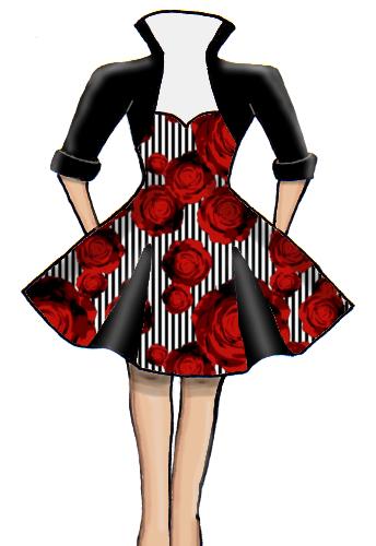 Bolero Vintage Inspired  Flared Insert Dress Roses 50s