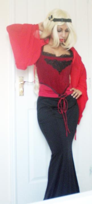 Red Black Gothic Outfit Corset Skirt Bolero Velvet Chiffon