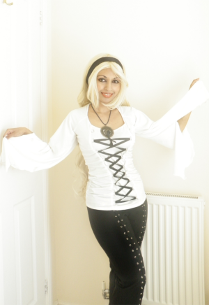 White Angel Sleeves Black Lace Pants Trousers Headband Ribbon