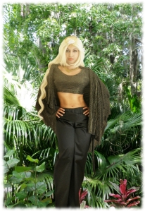 Jungle Warrioress Black Gold Lurex Cape Sateen Pants