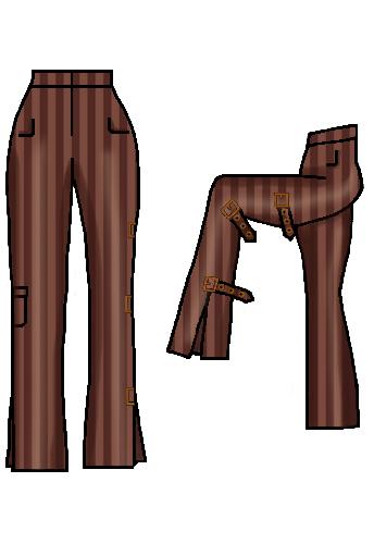 dapperdolly brown stripe pinstripe buckles straps pocket pants trousers steampunk