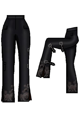 dapperdolly cogs wheels print black buckles straps pocket pants trousers steampunk