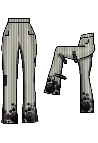 dapperdolly cogs wheels print black white pinstripe stripe buckles straps pocket pants trousers steampunk