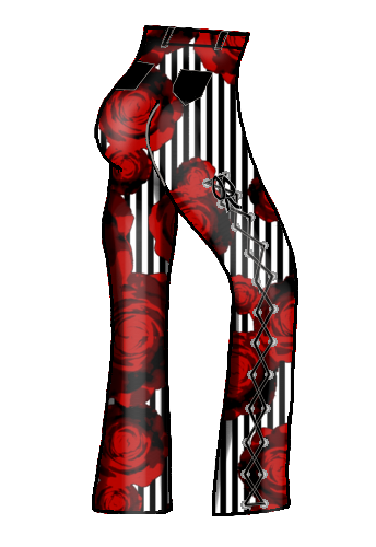 dapperdolly red rose print stripe pinstripe lace laced up pants