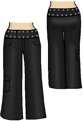 dapperdolly wide leg studded belt pants trousers black
