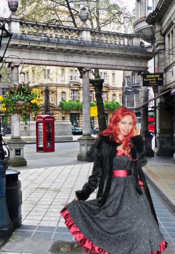 jacquard satin gown dress velvet capelet cape lolita coat