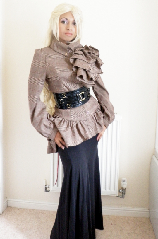 Ruffle Check Brown Blouse Black Fishtail Skirt