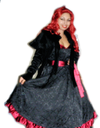 jacquard satin red black gown dress velvet capelet cape coat goth