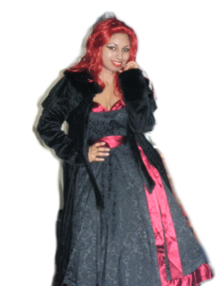 jacquard satin red black gown dress velvet capelet cape coat goth lolita