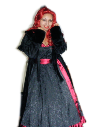 jacquard satin red black gown dress velvet capelet cape coat goth gothic victorian