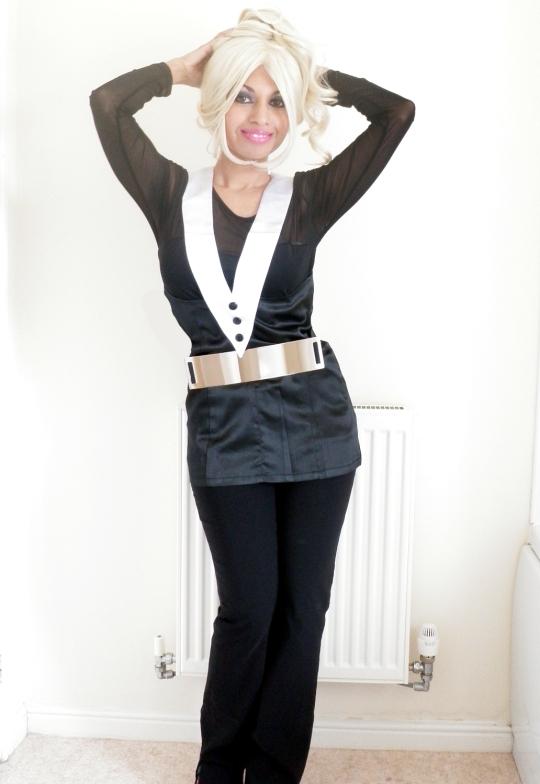 Tuxedo Top Black White Mesh Metal Belt Minimalist