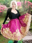 Indian Sari Sequin Skirt Black Retro Halter Top